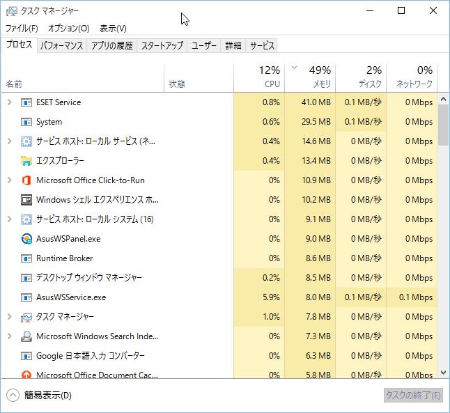 ASUS X205TA PC起動直後のメモリ使用量